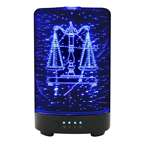 Libra Zodiac (POLENNON Libra Sign of The Zodiac Glass Essential Oil Diffuser 100ml Ultrasonic Cool Mist Humidifier with Led Night Lights)