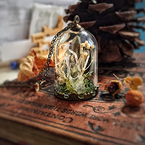 Raw Quartz Pendant, Crystal Necklace, Glass Dome, Belljar, Moss, Magic Power, Snow Globe, Wish, Mori Girl, Real Flower, Inspire, Woodland