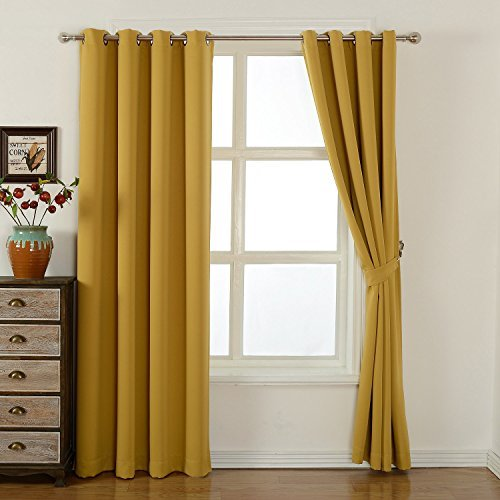 kensonic Sleep Well Blackout Curtains Toxic Free Energy Smart Thermal Insulated, 52 W X 84 L Inch, Grommet Top, Set of 2 Panels with Bonus Tie Back (Olive Yellow) acelitor