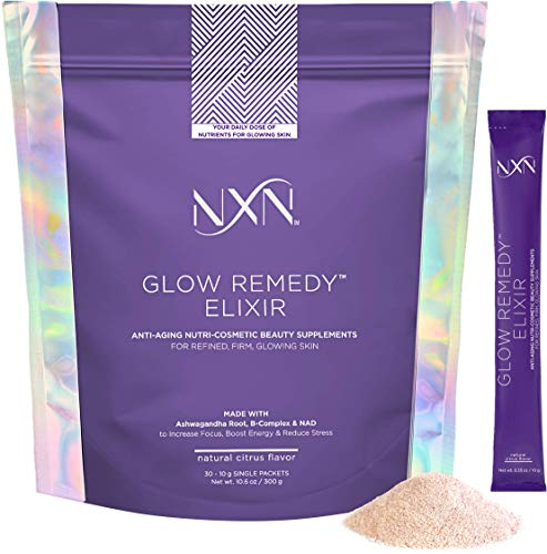 NxN Daily Vitamin C, B6, B12, Ashwagandha, NAD, B-Complex, Nourish Your Skin from Within, Glow Remedy Beauty Elixir, Non-GMO Sugar Free, Natural Citrus Flavor (30-10g Single Packets)