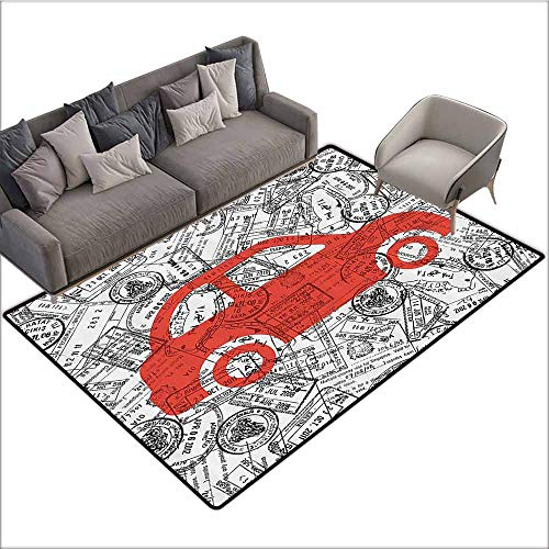 Soft Area Children Baby Playmats Cartoon,Little Car with Travel Themed Passport Stamps Background Abstract Design,Black Orange White 60