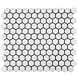 "SomerTile FDXMHMW Retro Hex Porcelain Floor and Wall Tile, 10.25"" x 11.75"", Matte White"