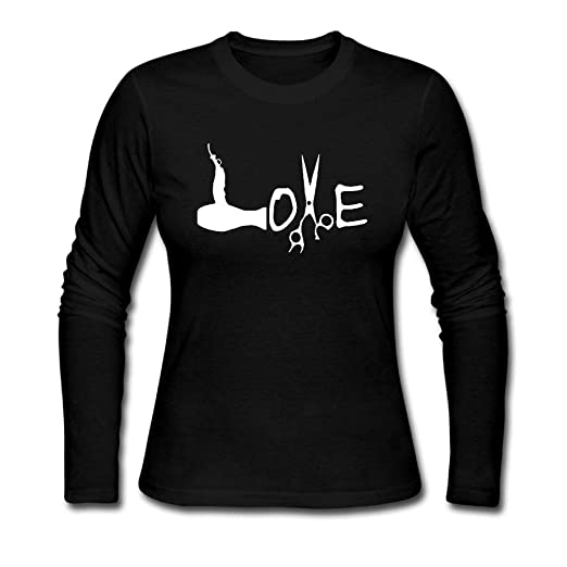 Hairdresser Hairstylist Love Long Sleeve Crew Neck Tops Custom Solid
