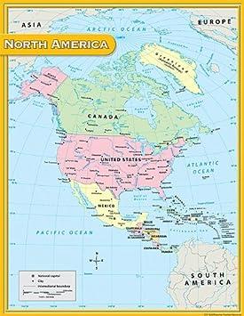Amazon.com : Teacher Created Resources North America Map Chart ...