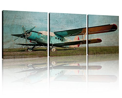 NAN Wind Blue Plane Vintage Wall Art Painting the Picture Print on Canvas Aircraft Pictures Paintings on Canvas Wall Art Ready to Hang for Living Room Bedroom Home Decorations