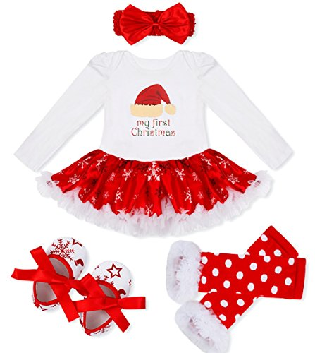 Girls Santa Outfit For (FEESHOW Baby Girl My First Christmas Tutu Outfit Dress Leg Warmer Shoes Headband White Red Santa Hat 6-9)