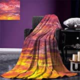 smallbeefly Sky Digital Printing Blanket Sunset Photography with Clouded Weather Tropical Scenic Hawaii Tranquility Summer Quilt Comforter Coral Dried Rose Orange