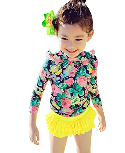 Baby Girls Three Pieces Floral Sun Protection Swimsuit Bikini Set (6-7T, Yellow)