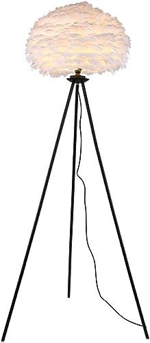 Surpars House Elegant Floor Lamp White Feather Shade Bedside Lamp