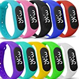 Yunanwa 10 Pack Upgraded White LED Touch Screen Jelly Gel Silicon Bracelet Wrist Watches Band Sports Set