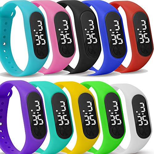 Yunanwa 10 Pack Upgraded White LED Touch Screen Jelly Gel Silicon Bracelet Wrist Watches Band Sports Set (10Pack Upgraded White LED) from yunanwa