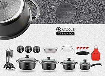 LUFTHOUS Batería de Cocina, 27 Pza. Titanio - Piedra, Sergio FERNÁNDEZ: Amazon.es: Hogar
