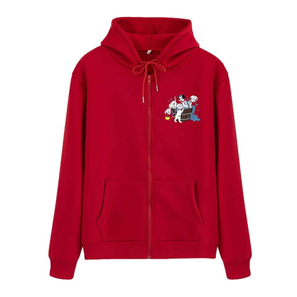 Funnygals - New Women's Zip Front Lightweight Hooded Sweatshirts Long Sleeve Zip Up Jackets Coat Hoodies with Pockets Red by Funnygals - Clothing