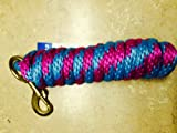 Teal/ Magenta Pink Poly Lead Rope 10' w/ Brass Bolt Snap Valhoma