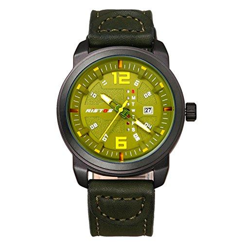 3 Hand Small Watch - Men's Military Japan Quartz 3ATM Waterproof Lumilous Hands Week Calendar Large Face Leather Watch (Green Dial)