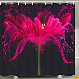 Black White and Pink Shower Curtain BROSHAN Romantic Floral Print Shower Curtain, Modern Abstract Flower Artistic Design Home Decor,Waterproof Fabric Bathroom Accessories Set with Hooks,72 x 72 inch,Green,Yellow,Pink and Black
