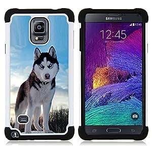 """Pulsar ( Alaskan Malamute Husky azul del invierno del Norte"""" ) Samsung Galaxy Note 4 IV / SM-N910 SM-N910 híbrida Heavy Duty Impact pesado deber de protección a los choques caso Carcasa de parachoques"""