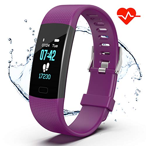 er HR, Activity Tracker Watch with Heart Rate Monitor, IP67 Waterproof Pedometer. Sleep Monitor, Step Counter, Calories Counter for Android & iPhone (Purple) ()