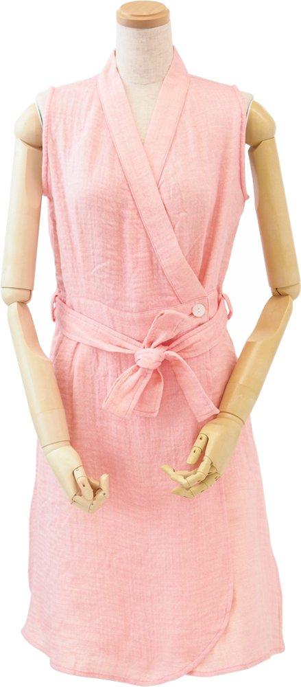UCHINO マシュマロガーゼ シャンブレー ラップドレス (L) ピンク RSS14039 L P B01GHGC53A Large|ピンク ピンク Large