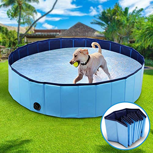 Wimypet S-L Foldable Dog Swimming Pool, Pet Dog Cat Bathing Tub Indoor Outdoor Puppy Pool,Durable Dogs Paddling Pool in Yard Garden