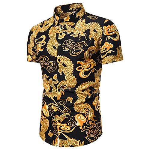 (Men Button Down Blouse, Mitiy Dragon Printed Short Sleeve Shirts Casual Laple Slim Fit Shirt Black )