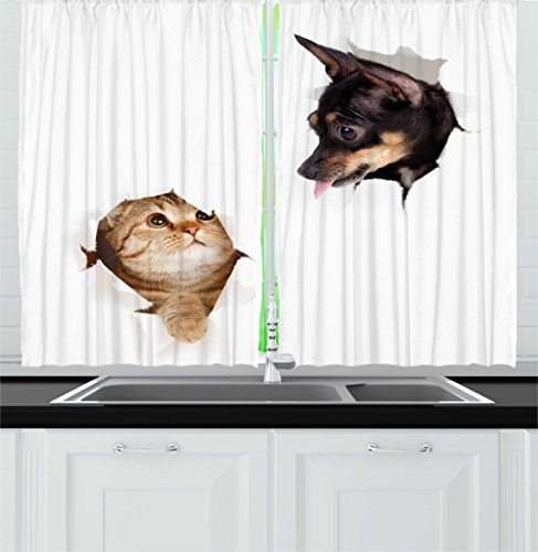 Ambesonne Animal Kitchen Curtains, Cat and Dog In Paper Side Torn Holes Funny Kitten and Puppy Photo Print, Window Drapes 2 Panels Set for Kitchen Cafe, 55W X 39L Inches, White Black and Brown by Ambesonne