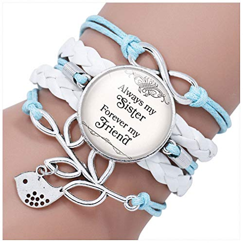 Hynsin Womens Bracelet Multilayer Black Leather Bracelet Always My Sister Forever My Best Friend Girls Jewelry Blue Brown Purple Red Bracelet 12027803