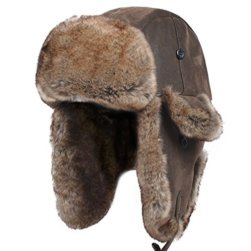 (Janey&Rubbins Unisex Winter Knit Russian Ushanka Cossack Trapper Bomber Aviator Cap Hat (L, Leather Brown))