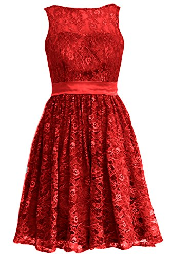 MACloth Women Straps Lace Short Bridesmaid Dress Cocktail Party Formal Gown Burgunderrot