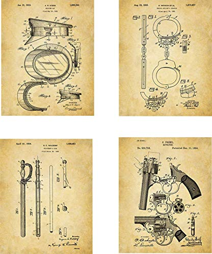 (Police Patent Wall Art Prints - set of Four (8x10) Unframed - wall art decor for police officers)