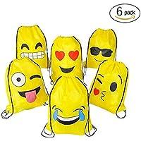 FUNNY HOUSE Emoji Bolsas de Cuerdas,Emoji Cordón Mochila Bolsas Regalo Cumpleaños Deporte Gimnasio Backpack para Niños…