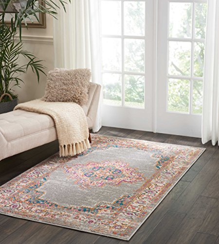 Nourison Passion Grey Contemporary Area Rug, 3'9