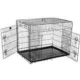 Pet Trex Jaula de Alambre Plegable Resistente para Mascotas, para Perros, Gatos o Conejos, Negro, 91.4 cm (36 Pulgadas)