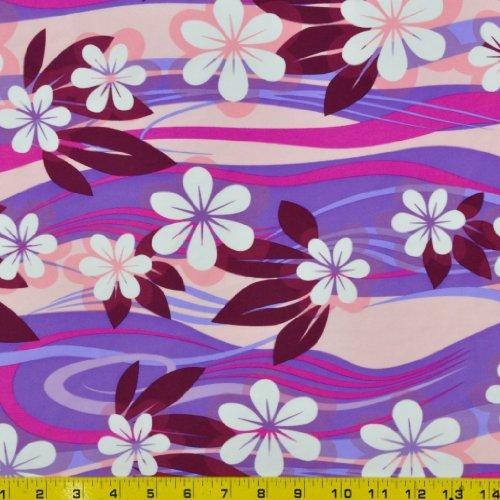 Printed Swimwear Fabric (Plumeria Purple Print - 58-60