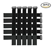 Yoga mat Straps,Hook and Loop Tape,Adjustable Strap Reusable Ties Tidy Wrap Hook & Loop(10pcs, Black)