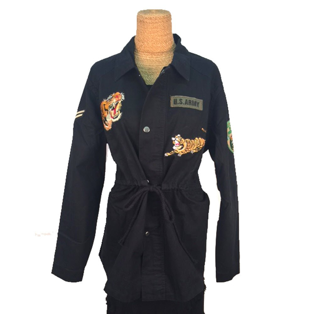 Treska Bohemian Black Jacket Drawstring Waist Patches