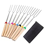 Marshmallow Roasting Sticks Set With Wooden Handle Premium Extendable Hot Dog Forks Set of 8 Pcs 32 Inch Telescoping Smores Skewers For Campfire Pit Camping Bonfire BBQ Party- Tektree