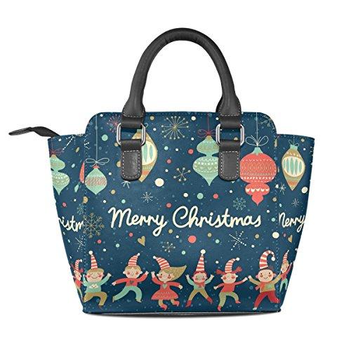 Women PU Merry 001 Zip Leather Top Tote Bags Handbags Christmas Multi Handle Shoulder Closure BENNIGIRY Bag dwF547Oqd