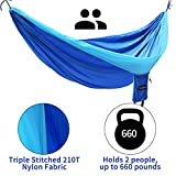 Hammock,Wonbor Camping Double Hammock Lightweight Portable Parachute Nylon Hammock With Tree Ropes And Carabiners For Outdoor Backpack Travel Beach Yard Hanging Bed Sleeping Swing - Blue