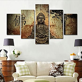 5 Panel Printed Summary Buddha Painting Canvas Wall Art Decoration Buddha  Buddha Image To Living Room