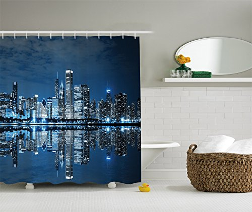 Ambesonne Americana Cityscape Decor Collection, Modern Art Picture of Water Reflection Chicago Illinois Buildings at Dark Night Scene, Polyester Fabric Bathroom Shower Curtain Set with - Tower Plaza Chicago Water