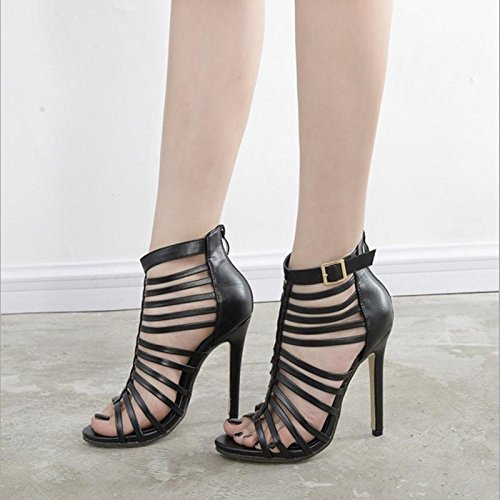 nbsp;Lap dîner sandales femelle mZG noir haute Hollow Chaussures avec 100 cUaqfAB
