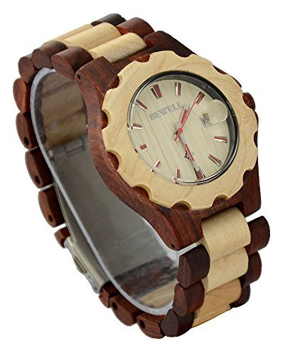 Ideashop® Mix Color Red and White Wooden Adjustable Band WristWatches Auto Date Wristwatch For Men or Women Gift...