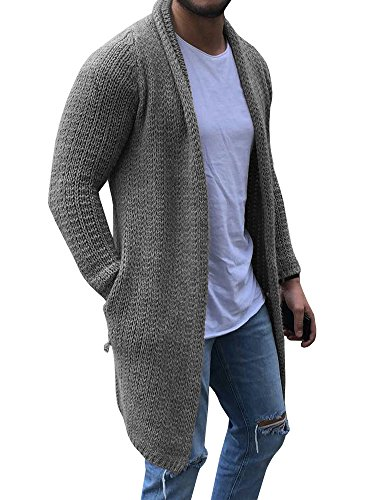 Runcati Mens Cardigan Sweater Shawl Collar Chunky Open Front Long Sleeve Knit Slim Fit Coats with Pockets Grey
