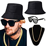 ZeroShop 80s/90s Hip-Hop Costume Kit - Cotton Bucket Hat,Gold Chain Beads,Oversized Rectangular Hip Hop Nerdy Lens Sunglasses (OneSize, Black)