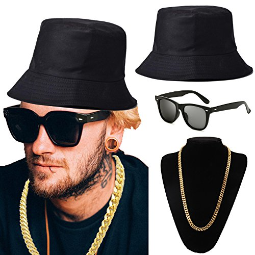 80s Hip-Hop Costume Kit - Bucket Hat, Gold Chain, Shades