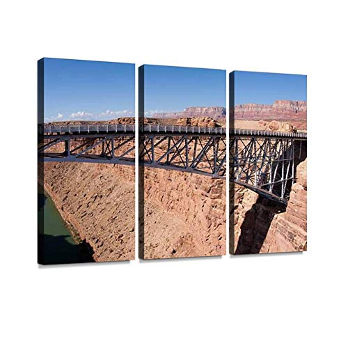 - Navajo Bridge Over Colorado River and Grand Canyon Print On Canvas Wall Artwork Modern Photography Home Decor Unique Pattern Stretched and Framed 3 Piece