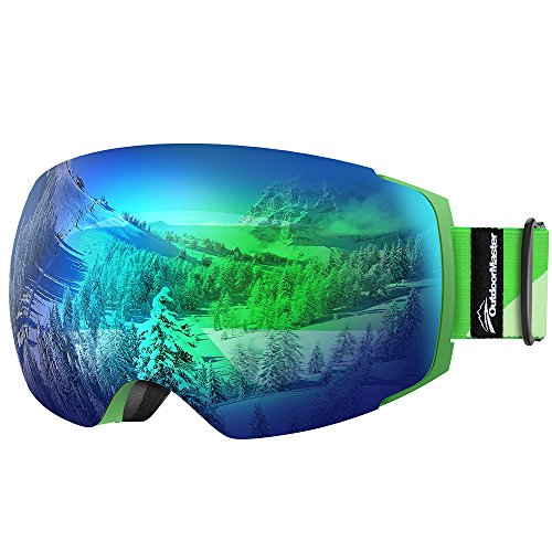 OutdoorMaster Ski Goggles PRO - Frameless, Interchangeable Lens 100% UV400 Protection Snow Goggles for Men & Women ( Green Frame VLT 18% Grey Lens with Full REVO Green and Free Protective Case )