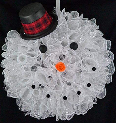 - Snowman Legs Christmas Mesh Door Wreath; White Black