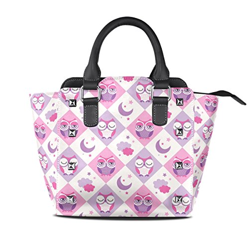 Multicolor Ladies Pu Bags Shoulder Tote Crossbody Middle Coosun Owls Handle Bag Leather Pattern Birds Bag Top qrZIwr